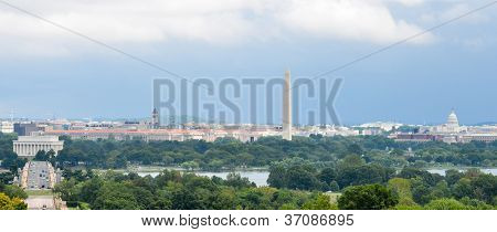 Washington DC city view in a cloudy summer day, including Lincoln Memorial, Monument, US Capitol building and Potomac River