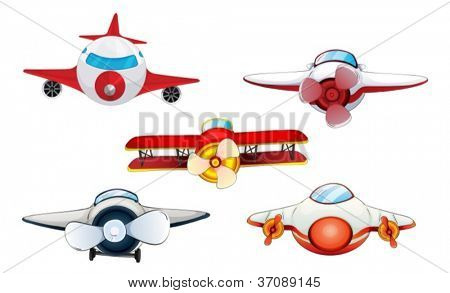 illustration of various aeroplanes on a white background