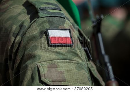 Flag patch on polish soldier uniform