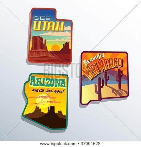 Southwest United States Arizona New Mexico Utah vector  illustrations designs