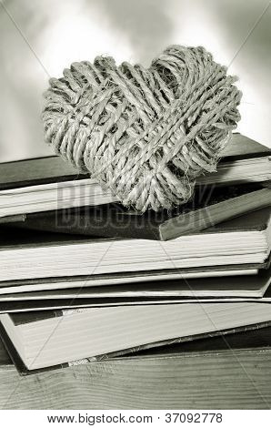 a pile of books and a heart-shaped coil of rope symbolizing love for reading habit
