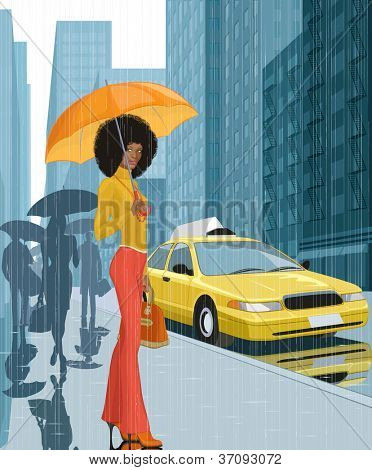 Young black woman with umbrella in the city in rainy weather
