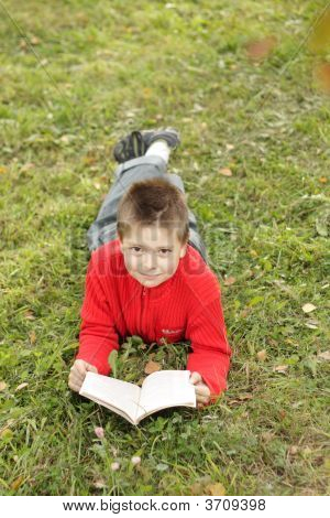 Boy Reading Book On Grass