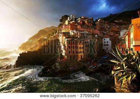 Falling night in Vernazza Village, Cinque Terre, Italy