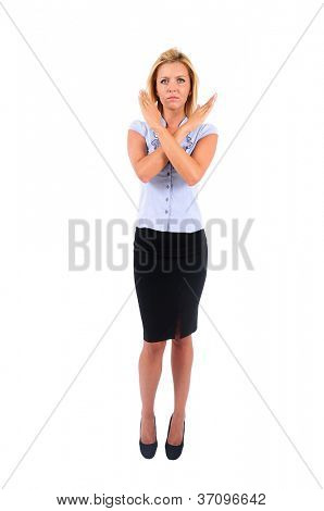 Isolated Young Business Woman Disapprove