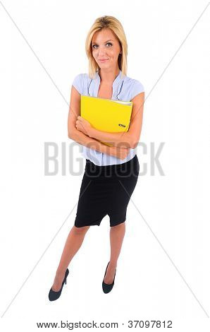 Isolated Young Business Woman Standing With Dossier