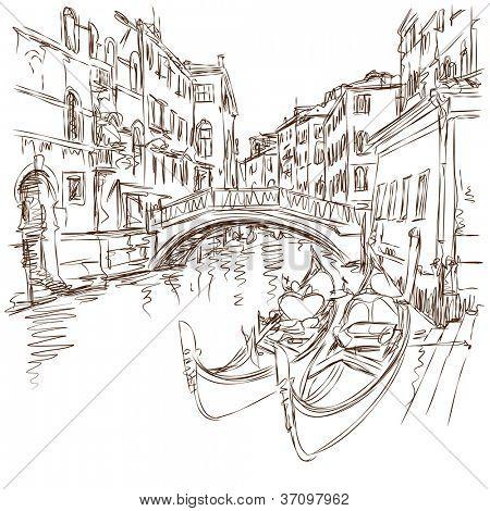 2 góndolas. Ponte del Mondo Novo, Campo Santa Maria Formosa. Venecia, Italia. Bosquejo del vector