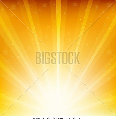Colden Background With Sunburst And Stars, Vector Illustration