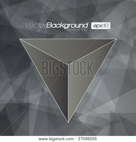 Black and White 3D Triangle vector background for Your Text