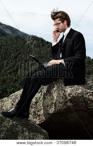 Successful business man working on a laptop on a peak of the mountain.