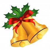 picture of christmas bells  - Christmas bells ornamented with holly and bow - JPG