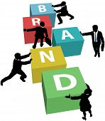 Marketing people team up and cooperate to build Brand identity plan poster