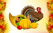 stock photo of cornucopia  - illustration of fruits and vegetable in cornucopia with turkey for Thanksgiving - JPG