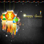 image of ganpati  - illustration of hanging lantern with firework in diwali night - JPG