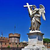 roman landmarks, Sant angello castel and angel poster