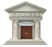 stock photo of ionic  - Iconic caricature of a college building isolated on a white background - JPG