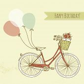 image of girly  - Bicycle with balloons and a basket full of flowers - JPG