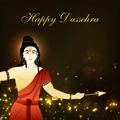 stock photo of dussehra  - Dussehra festival background with Hindu God Shri Rama - JPG