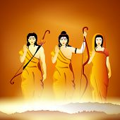 pic of sita  - Illustration of Hindu Lord Shri Rama with his wife Mata Sita and brother Laxman on shiny background - JPG