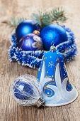 pic of shaky  - Christmas decorations on old wooden background - JPG