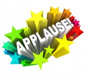 The word Applause surrounded by colorful stars to symbolize support, enthusiasm, approval, ovation,
