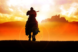 pic of jousting  - Silhouette illustration of a knight holding a lance - JPG