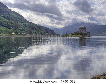 eilean donan castle scotland with reflection