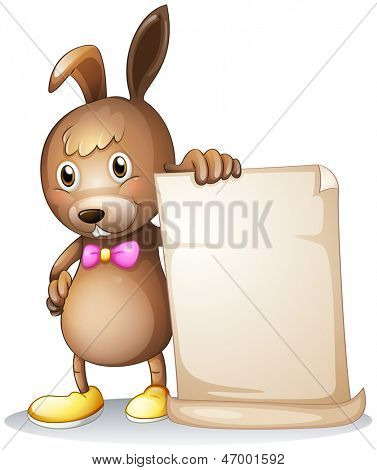Illustration of a rabbit holding an empty white board on a white background