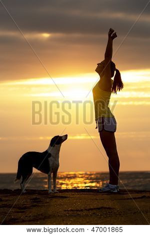 Woman And Dog Success And Sport
