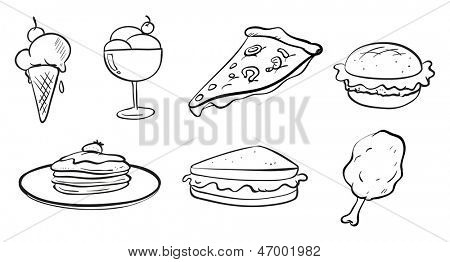Illustration of the doodle designs of the different foods on a white background