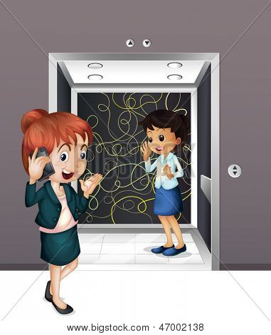 Illustration of the two girls at the elevator