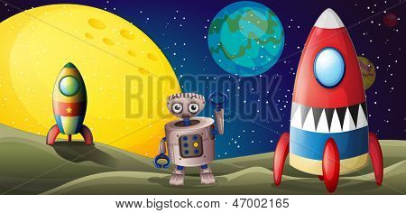 Illustration of the two spaceships and a robot in the outer space