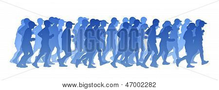 Grande grupo de pessoas correndo silhueta gradiente azul