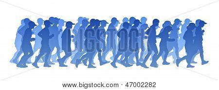 Big Group Of People Running Blue Gradient Silhouette