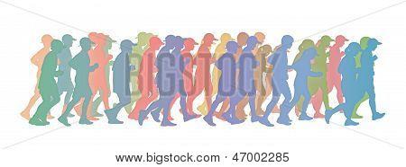 Grande grupo de pessoas correndo silhueta colorida
