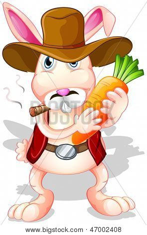 Illustration of a rabbit holding a carrot with a hat and a cigarette on a white background