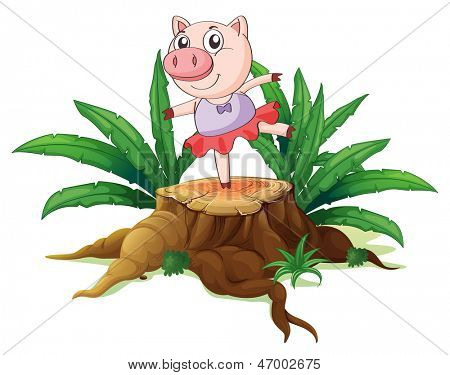 Illustration of a tree with a female pig on a white background