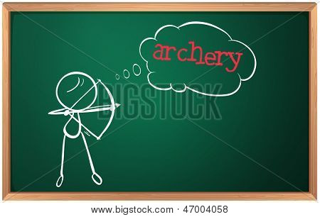 Illustration of a blackboard with a drawing of a boy playing archery on a white background