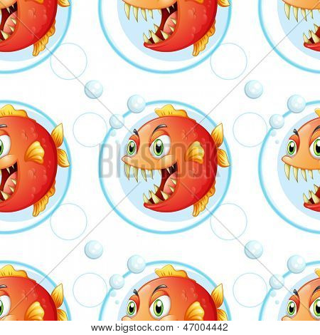 Illustration of a seamless wallpaper design with fish on a white background