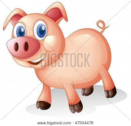 Illustration of a fat and smiling pig on a white background