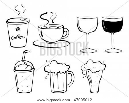 Illustration of the different kinds of drinks on a white background