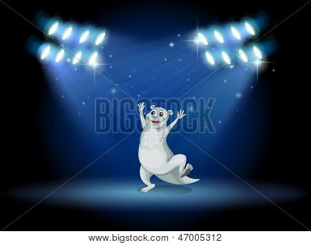 Illustration of a sealion at the stage with spotlights