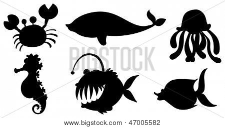 Illustration of the sea creatures in black colors on  a white background