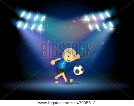 Illustration of a young football player at the stage