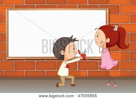 Illustration of a marriage proposal near the empty board
