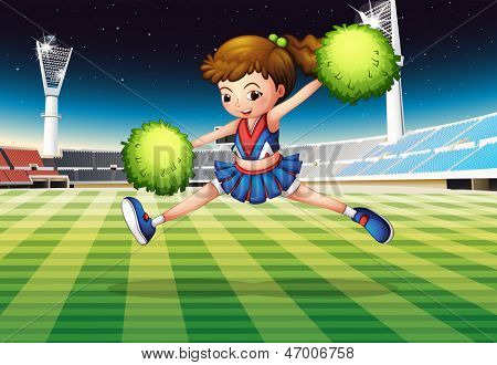 Illustration of a cheerleader with green pompoms