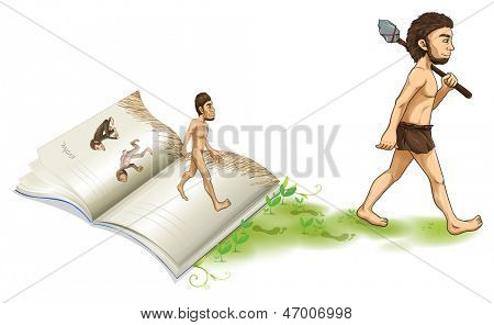 Illustration of a story of the evolution of man on a white background