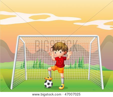 Illustration of a soccer player in a red shirt