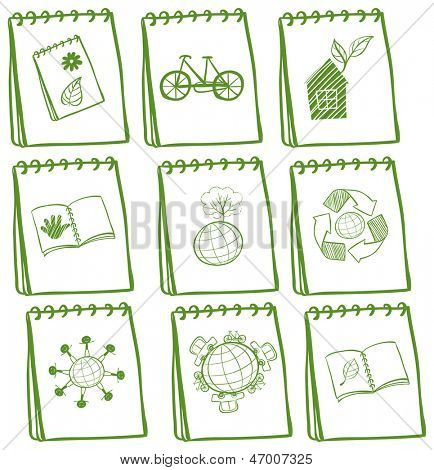Illustration of the notebooks with green drawings at the cover page on a white background