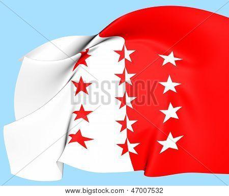 Flag Of Valais, Switzerland.